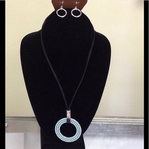 Jewelry - Rain Leather Turquoise Necklace/Earring Set
